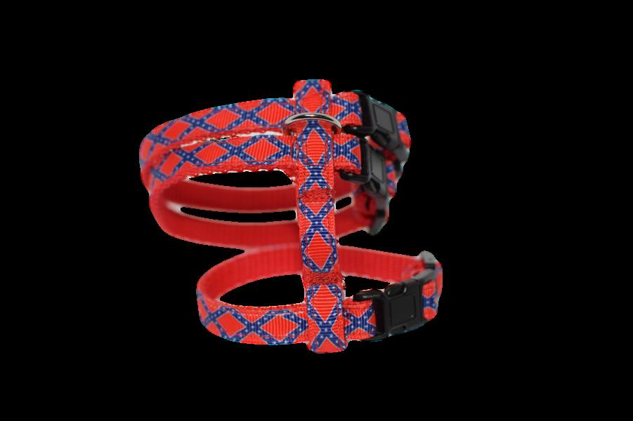 Frettchengeschirr - Kreuz blau auf rot