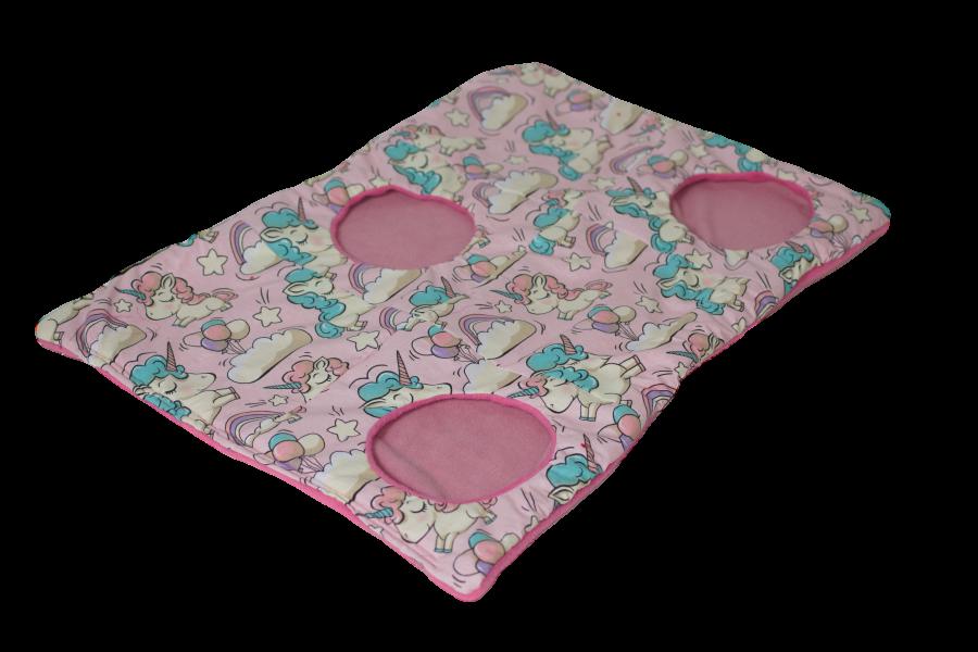 Knisterdecke | Größe S |Einhorn  grau | Fleece Pink / Rosa | VF